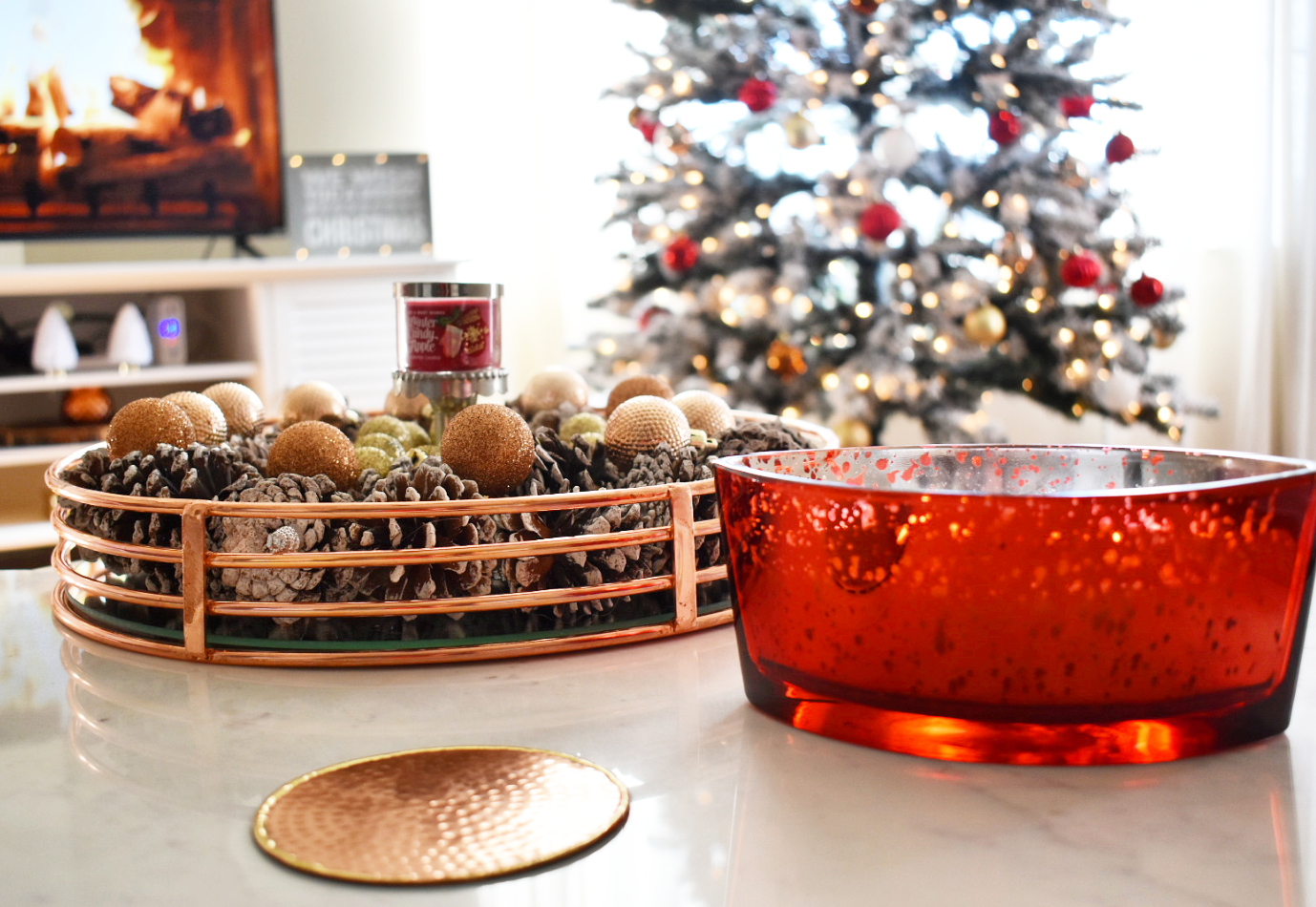 The Winter Candy Apple Candle And Candle Holder Are From Bath & Body Works  The Pine Cones And Smaller Ornaments Are From Hobby Lobby