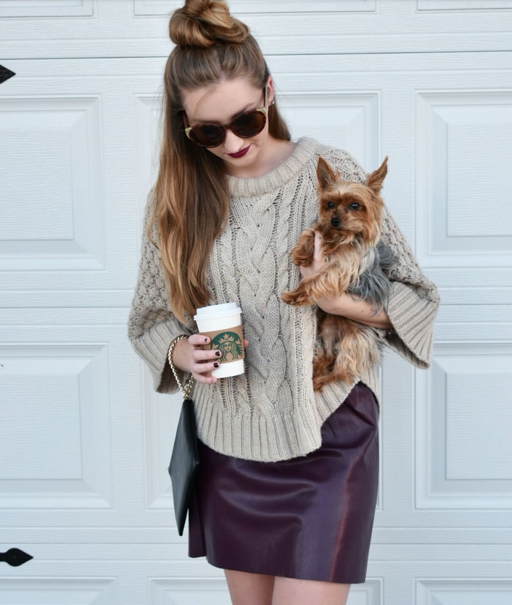 Faux Leather Skirt / Chunky Sweater